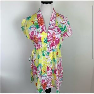Lily Pulitzer Floral Cotton Tunic Top Pink Yellow
